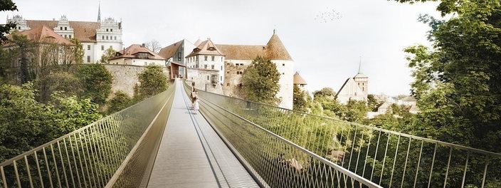 Entwurfsbild der Spreebrücke | Bildrechte: Professur für Städtebau, Fakultät Architektur, TU Dresden